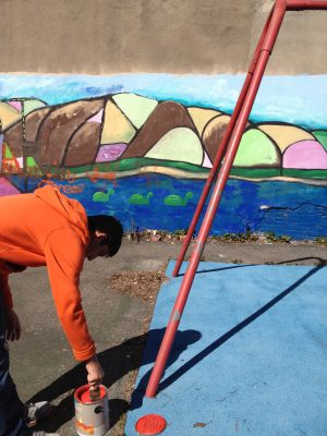 Painting Lemon St Playground