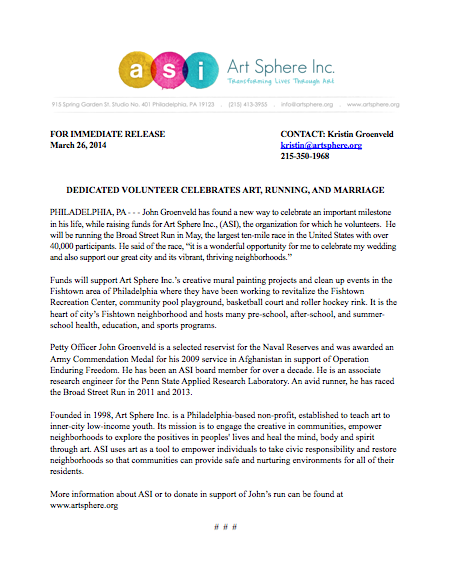 Press Release Regarding Volunteer John Groenveld