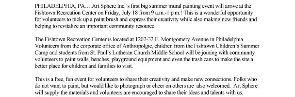 Join the Fun While Painting Murals at the Fishtown Recreation Center