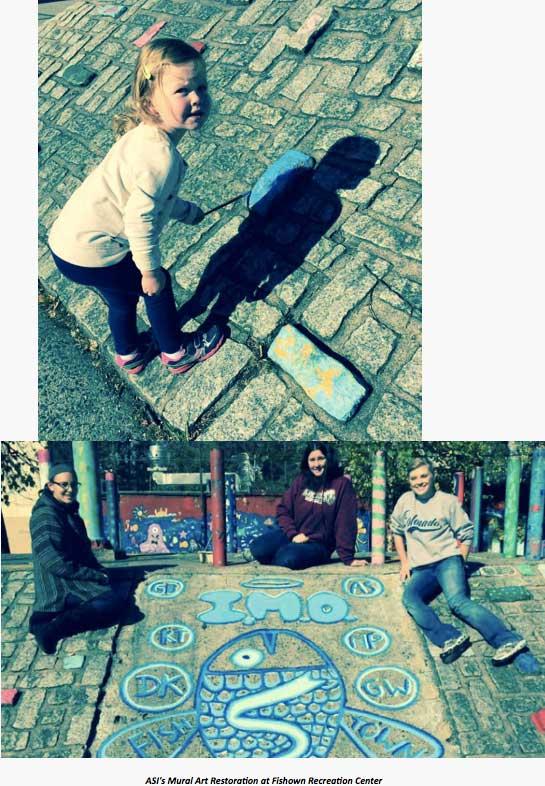Images of mural arts restoration at Fishtown Recreation Center