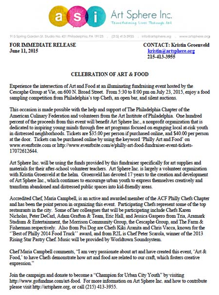 Art and Food Press Release PDF
