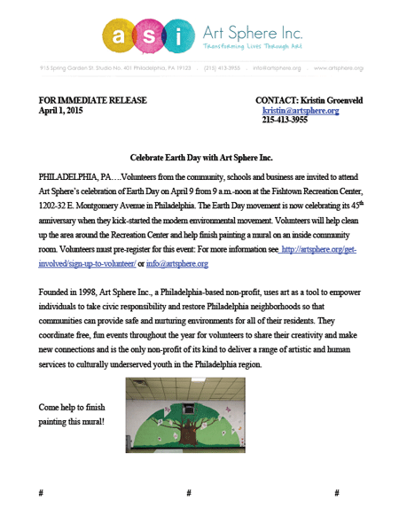 Earth Day Press Release PDF