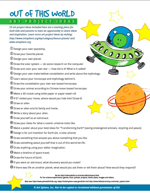 Free 25 ASI Out of this World Space Art Project Ideas Handout