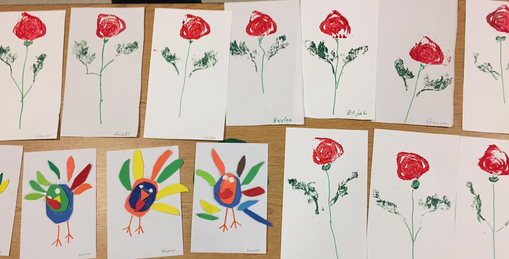 Printmaking Roses Using Celery