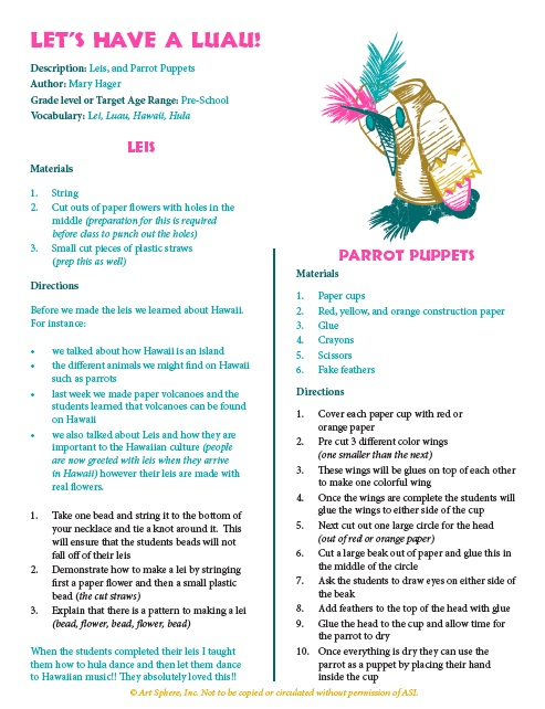 Let's Have A Luau lesson Plan Handout