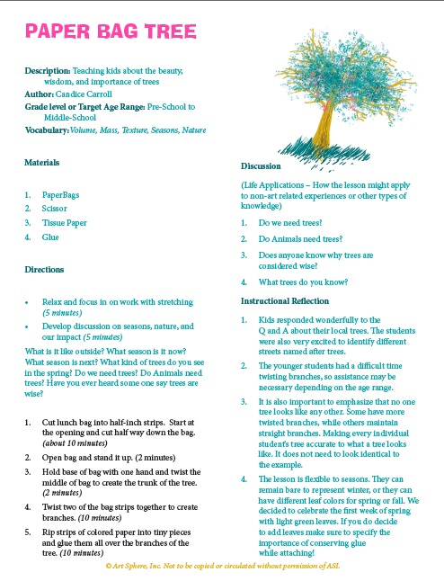 Free Paper Bag Tree Lesson Plan Handout