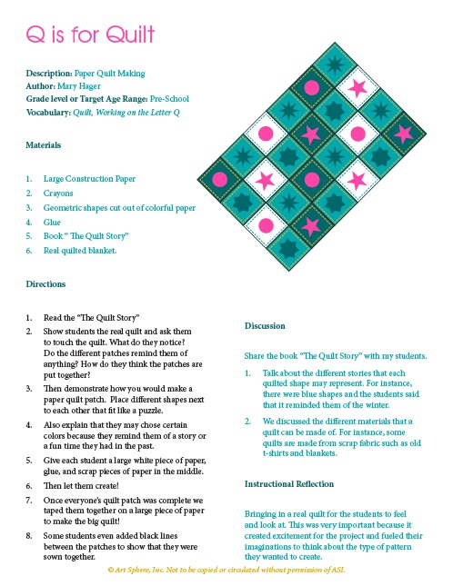 Free Q Is For Quilt Lesson Plan