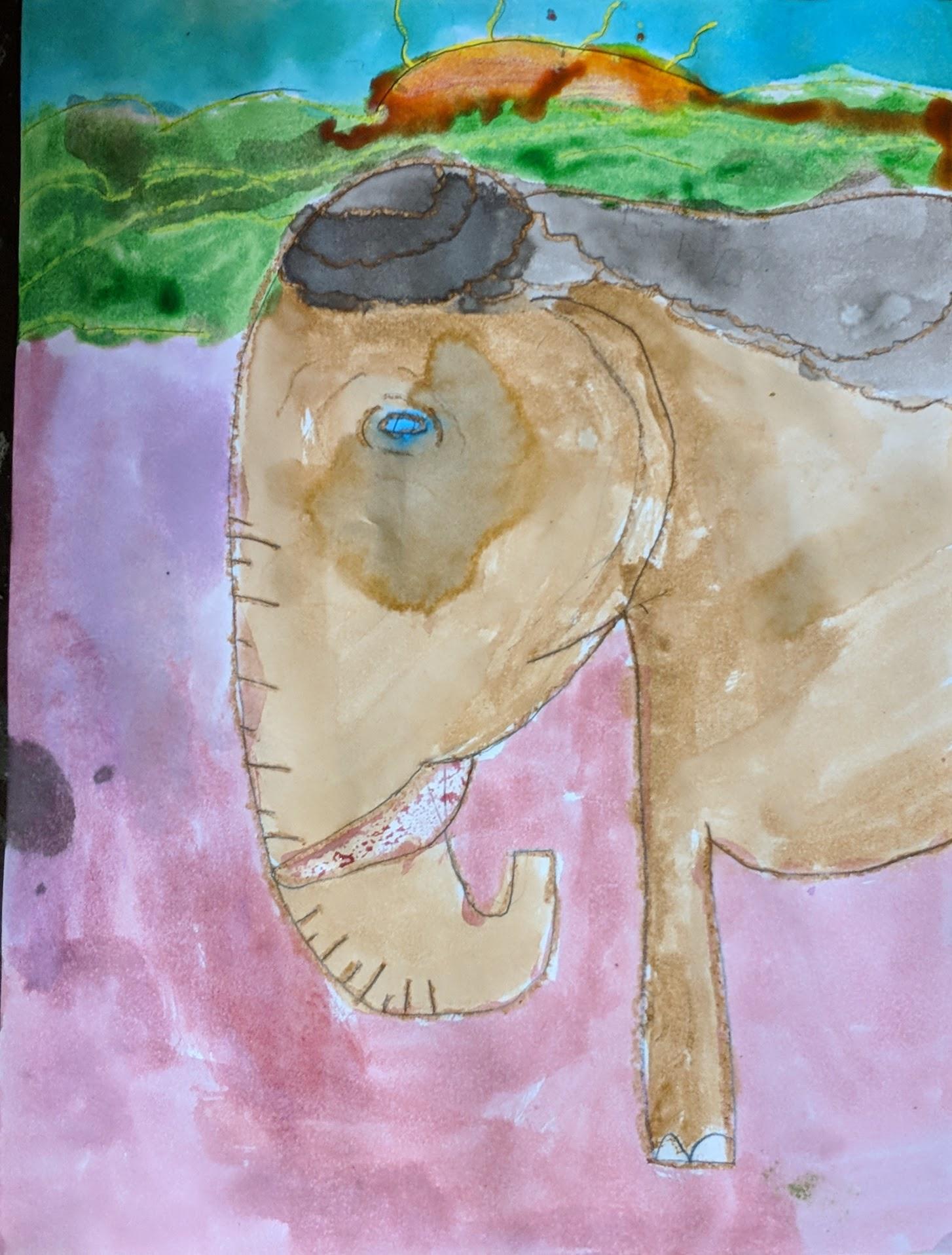 Watercolor Resist Elephants