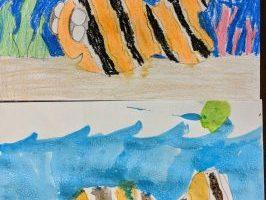 Watercolor Resist Koi Fish Painting