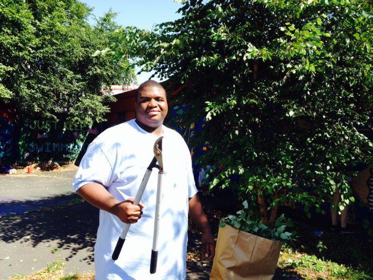 ASI volunteers building green spaces