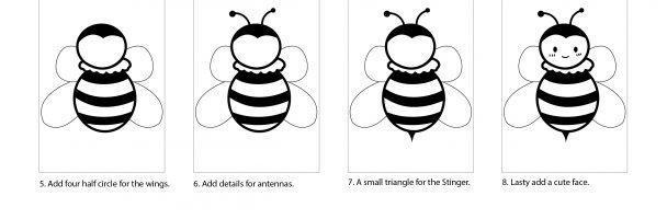 How to draw a cute bee