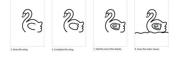How to draw a cute swan