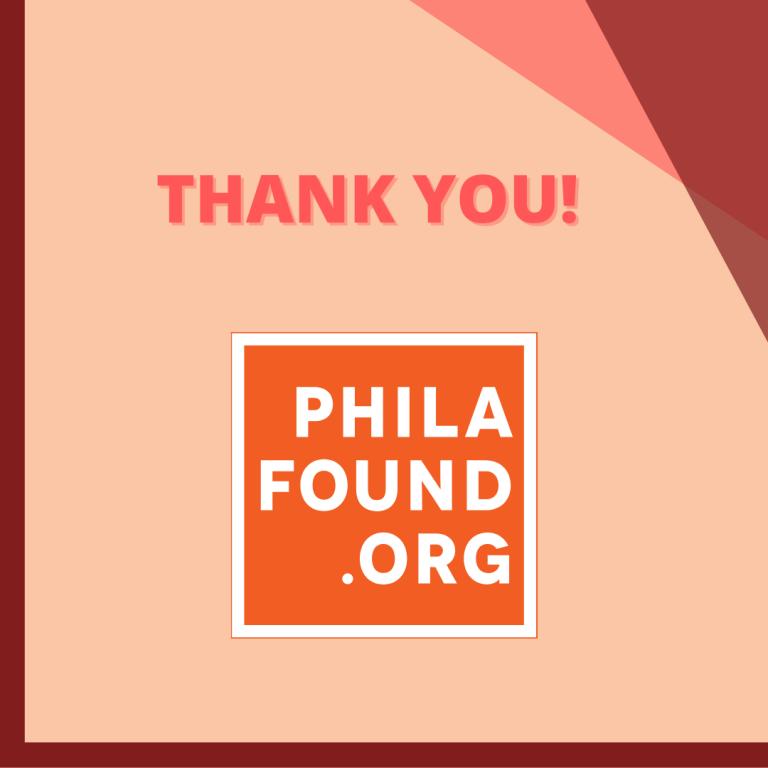 Thank you - PhillaFound - Newsletter - October, 2021