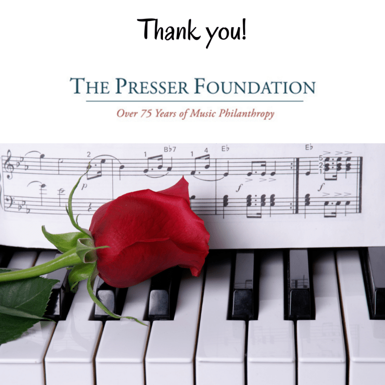 Thank you The Presser Foundation - Newsletter - October, 2021