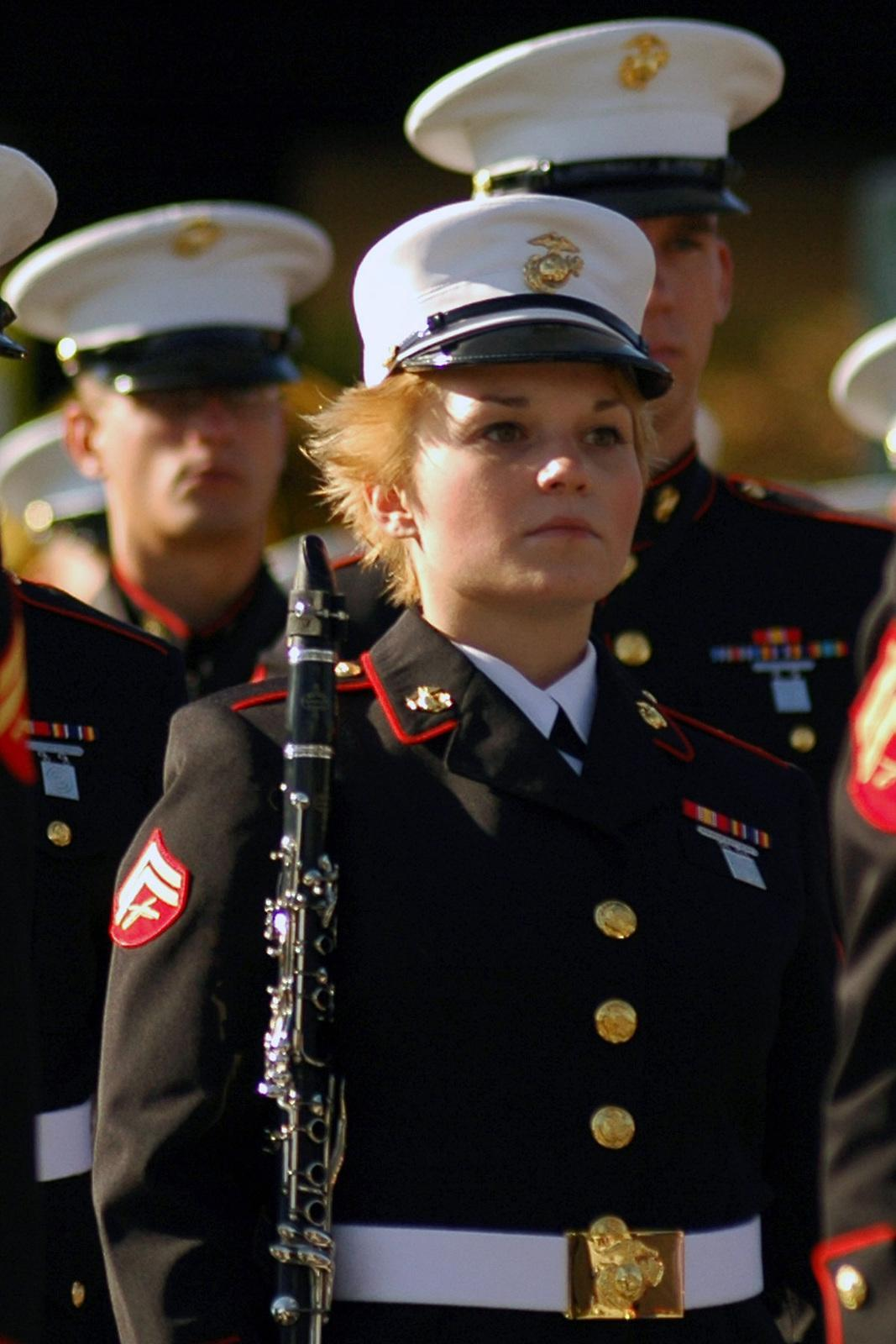 US Marine Corps (USMC) Corporal (CPL) Kristen Turner, a clarinet player for the 1st Marine Division Band, marches in the annual Tournament of Roses Parade Pasadena, California (CA).